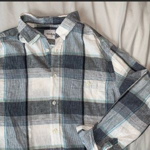 Goodfellow green black and blue plaid button down